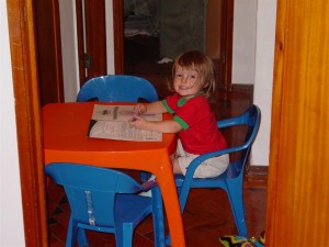Eliana with her new 'big sister' table and chairs